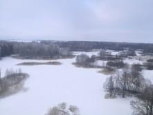 Vaizdas nuo Kirkilų bokšto terasos žiemą