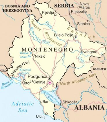 Juodkalnujos žemėlapis